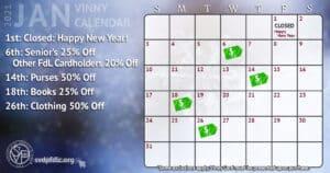 January 2021 Vinny Card Calendar.
