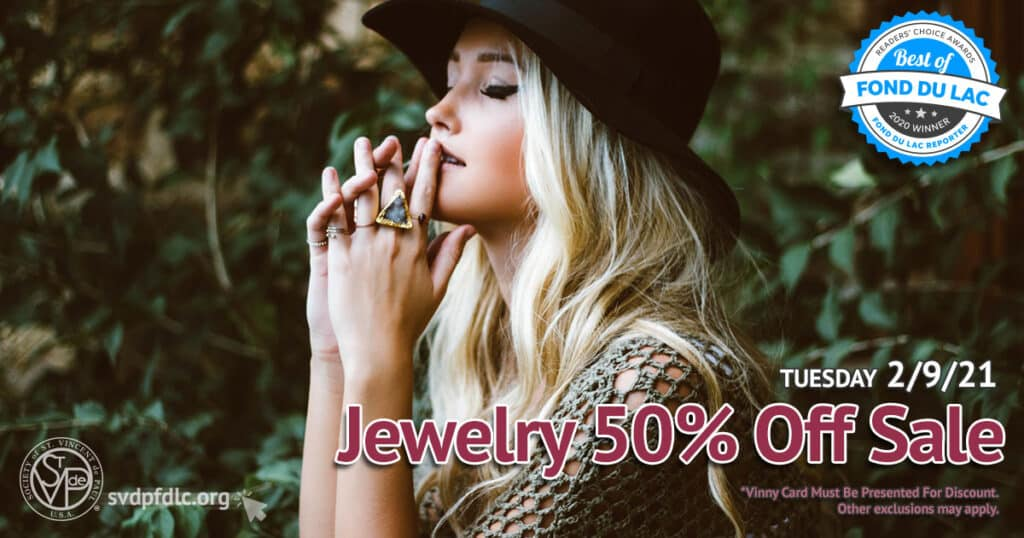 2/9/21: Jewelry 50% Off Sale.