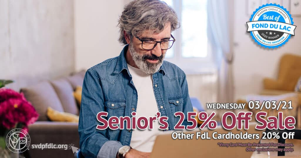 Seniors 25 percent off sale. (3/3/2021)
