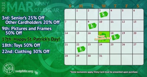 Vinny Card Calendar March 2021
