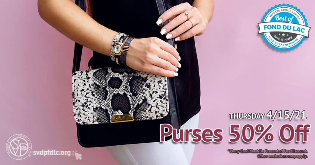 Purses 50 percent off sale. (4/15/2021)