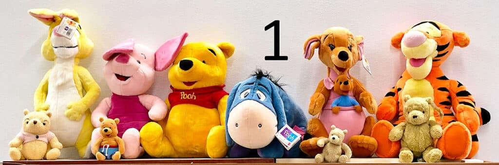 Winnie the Pooh stuffed animal set.