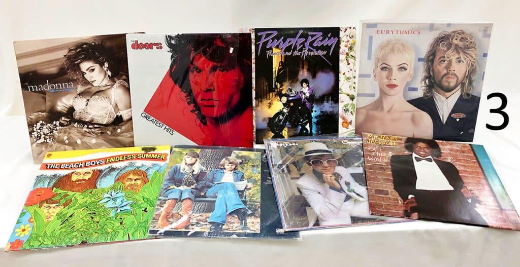 Classic rock vinyl records.