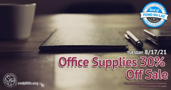 Office Supplies 30 percent off sale. (8/17/2021)