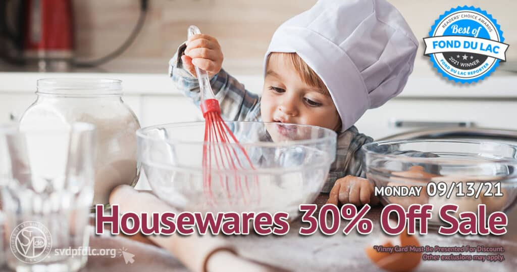 Housewares 30 percent off sale. (9/13/2021)