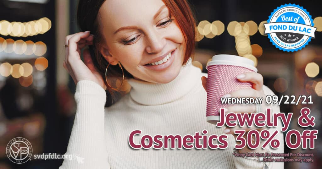 Jewelry and Cosmetics 30 percent off sale. (9/22/2021)
