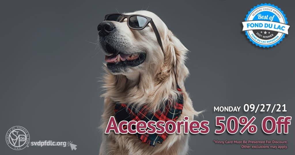 Accessories 50 percent off sale. (9/27/2021)