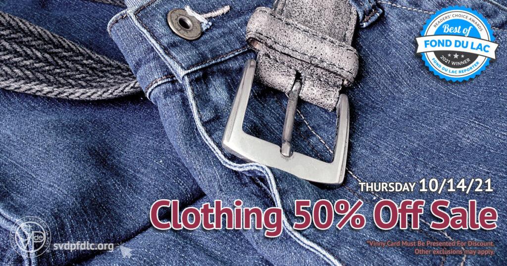 Clothing 50 percent off sale. (10/14/2021).