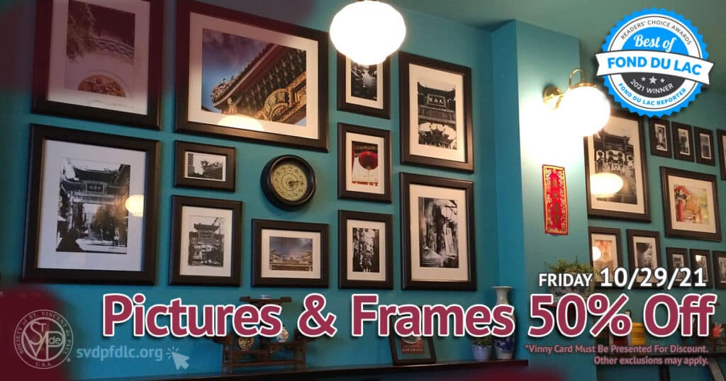Pictures and Frames 50 percent off sale. (10/29/2021).