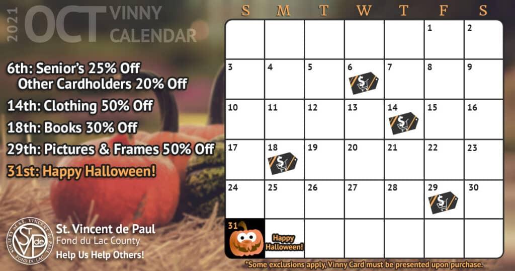 Vinny Card Calendar October 2021
